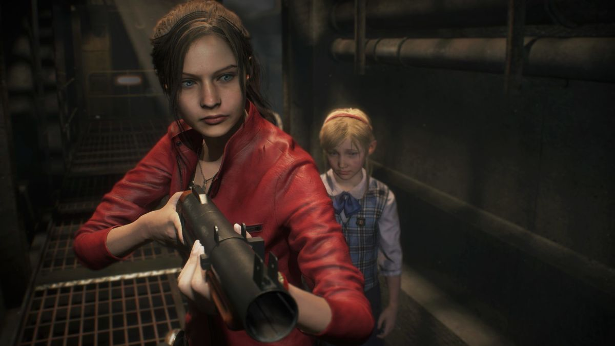 Claire with Sherry Birkins in Resident Evil 2