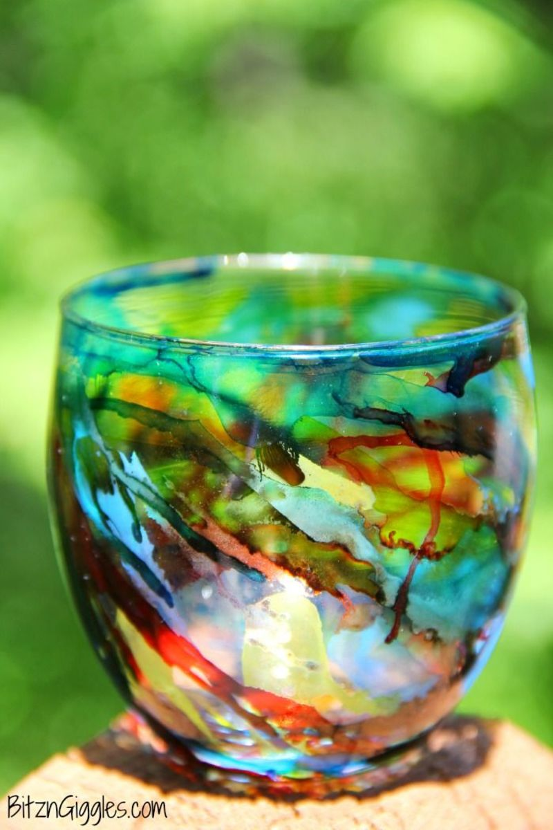 Beautiful votive candle holders and vases can be made with alcohol inks