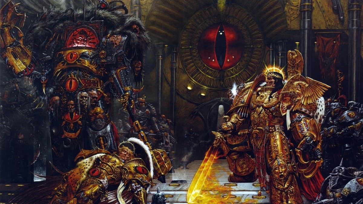 The Emperor battles with Horus Lupercal during the Horus Heresy.