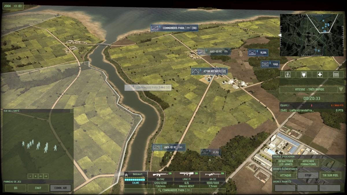 A rather dense flank force that I set up, with AMX 10 RCs for fire support, recon infantry, and ATGMs to back them up against heavy units. Most of the time units there will be weaker, this is just to represent it.