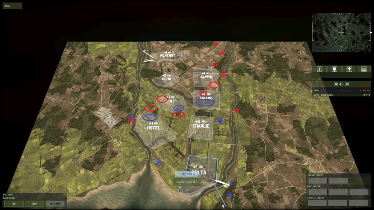 A map of some of standard deployment positions of the two sides in circles and picket forces with stars - recon forces in Golf, and to the west of Hotel are sure to clash.