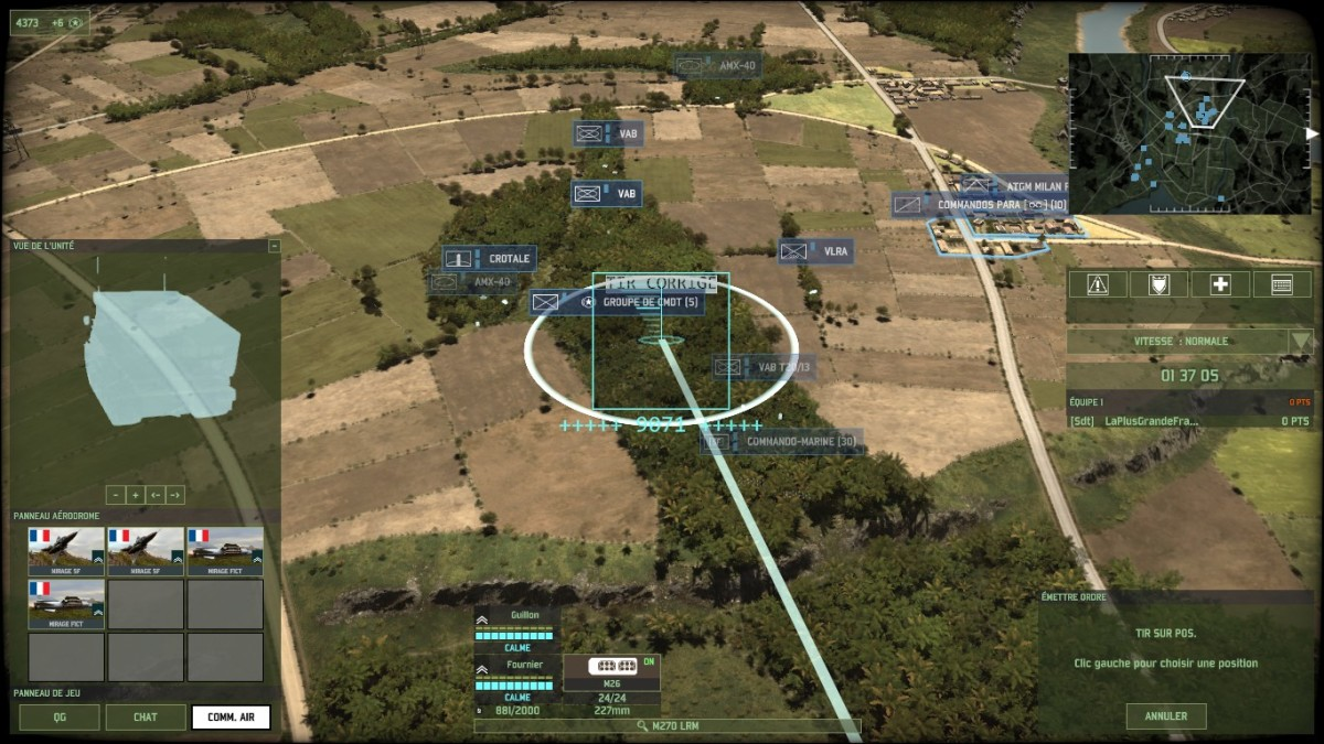 An MRLS taking aim at an infantry CV: infantry CV have the advantage of stealth but when there is only so much area to hide...