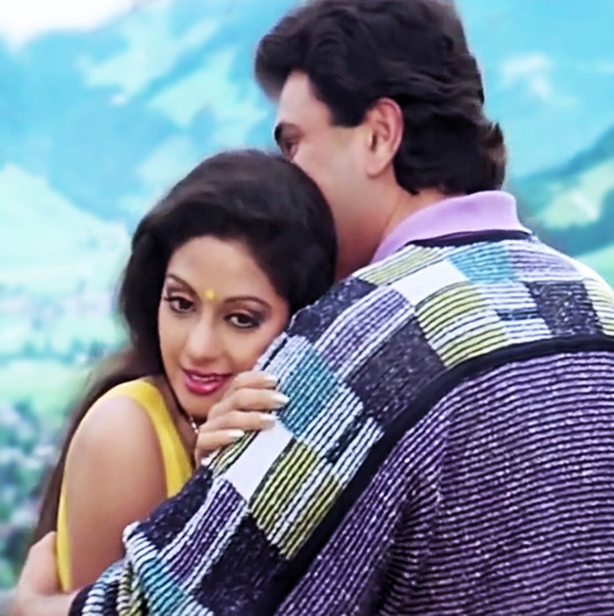 "Rishi Kapoor and Sridevi in ""Tere mere hothon pe, meethe meethe geet..."" from CHANDNI (1989), arguably the most celebrated movie of Sridevi's illustrious career!"