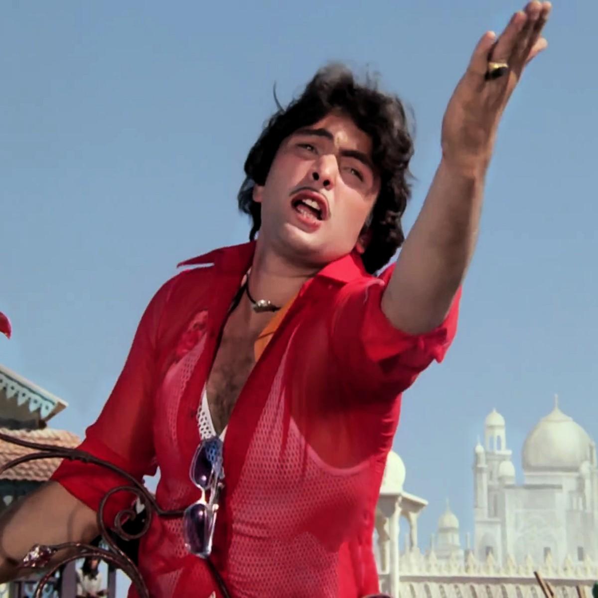 Rishi Kapoor at his naughtiest best in Tayyab Ali pyar ka dushman..., from AMAR AKBAR ANTHONY (1977)