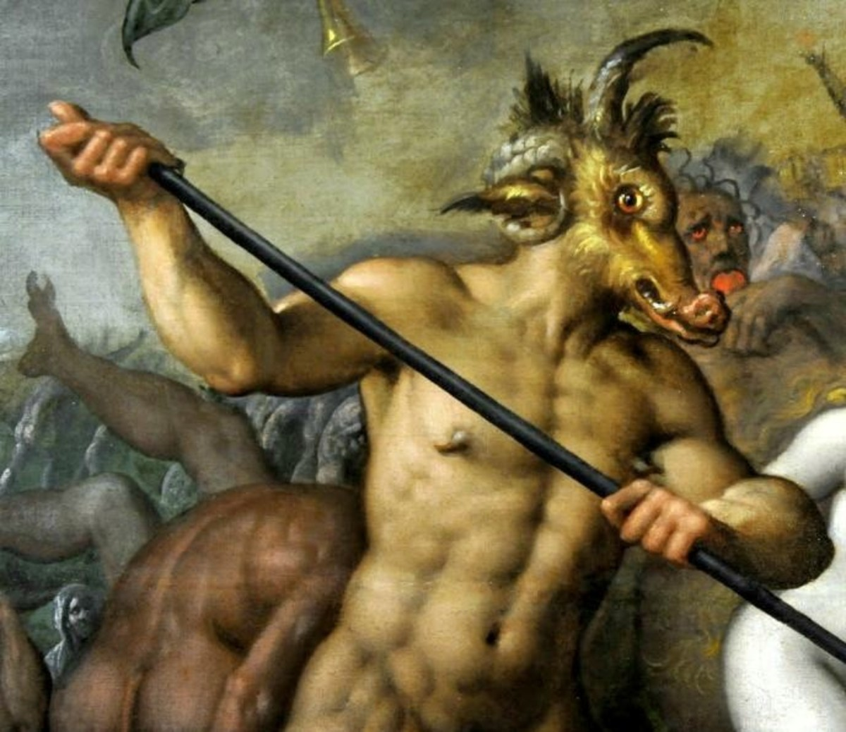 Last Judgment by Jacob de Backer. This painting depicts the Devil as often seen in Christian art, wielding a trident as his scepter and signature weapon By Jacob de Backer-Own work (BurgererSF),