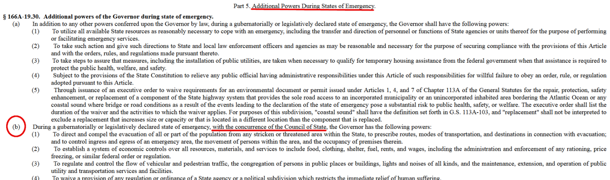 Screenshot of NC Statutes 166A-19.30