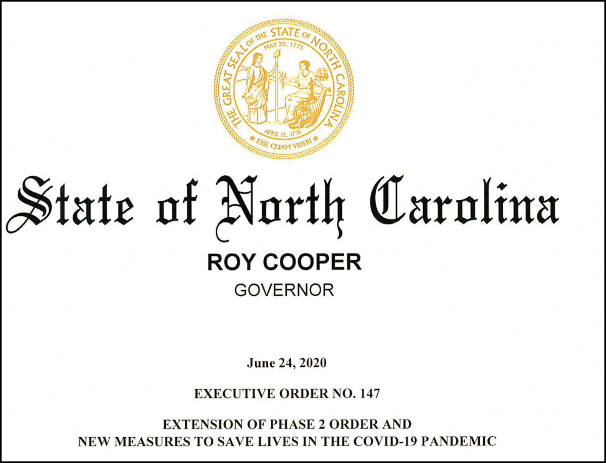 Screenshot of title page of NC Executive Order No. 147