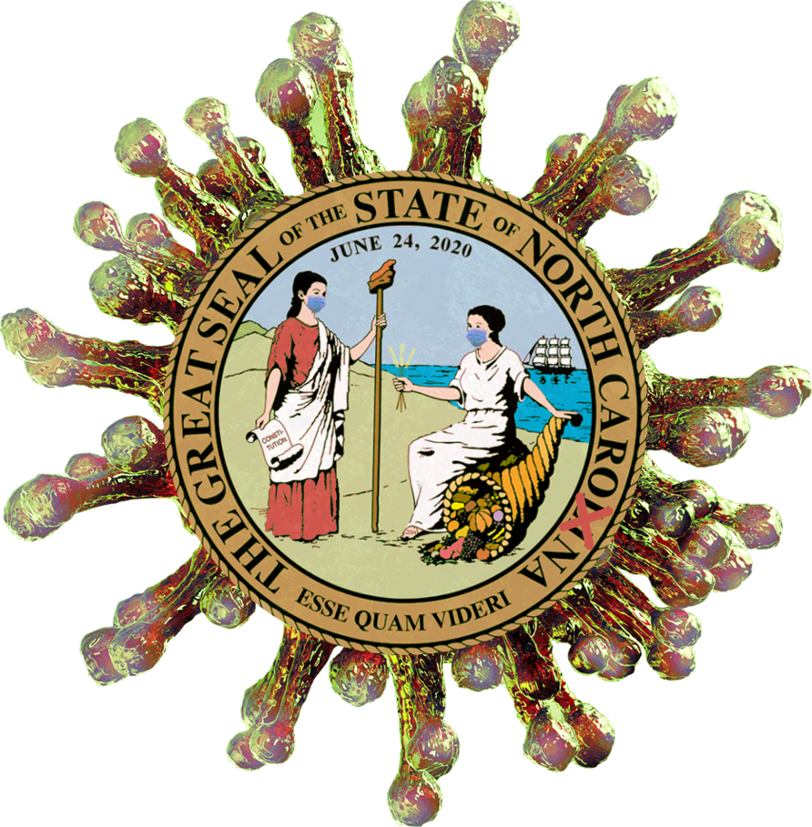"Great seal of North ""Carona"" compiled by Robert G Kernodle, using official state seal, transformed into parody."