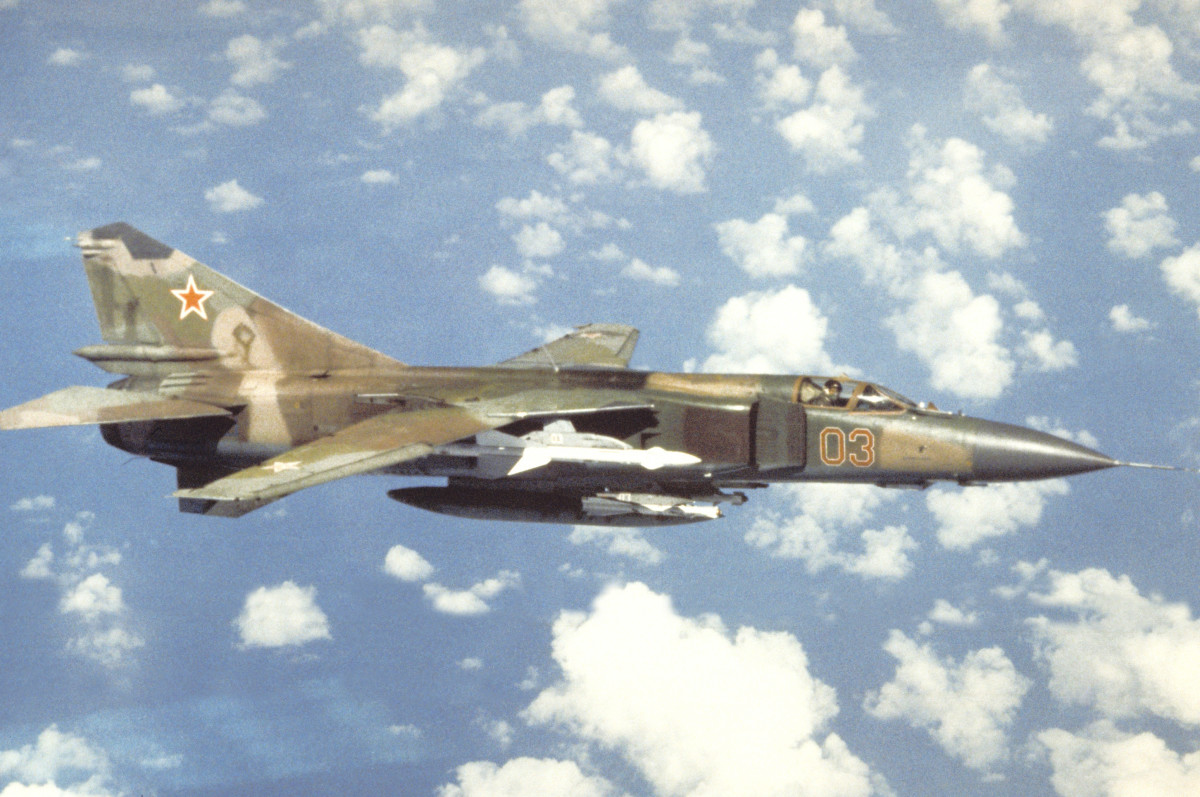 A Soviet MIg-23MlD, an improved version of the Mig-23ML.