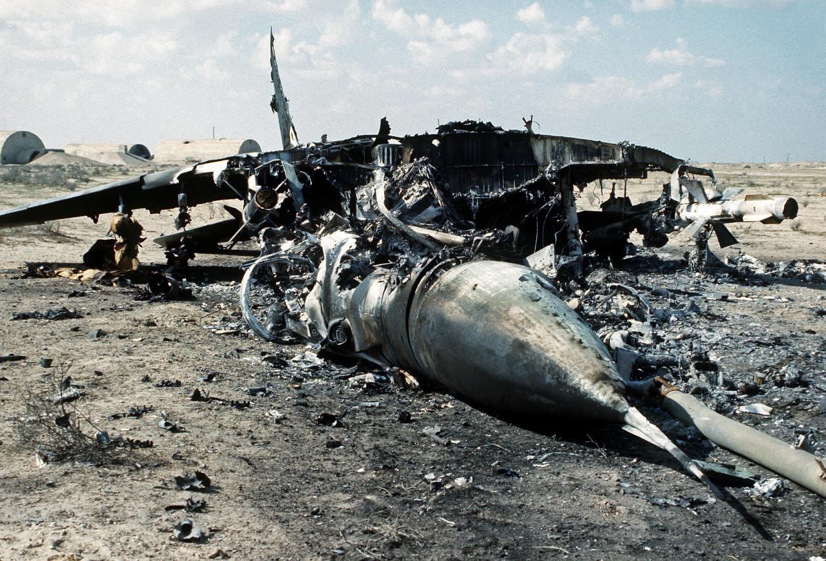 Wreckage of an Iraqi MiG-29.