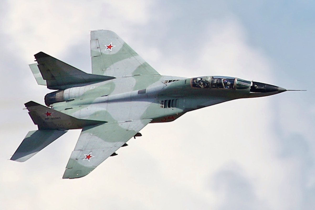 The MiG-29 in flight.