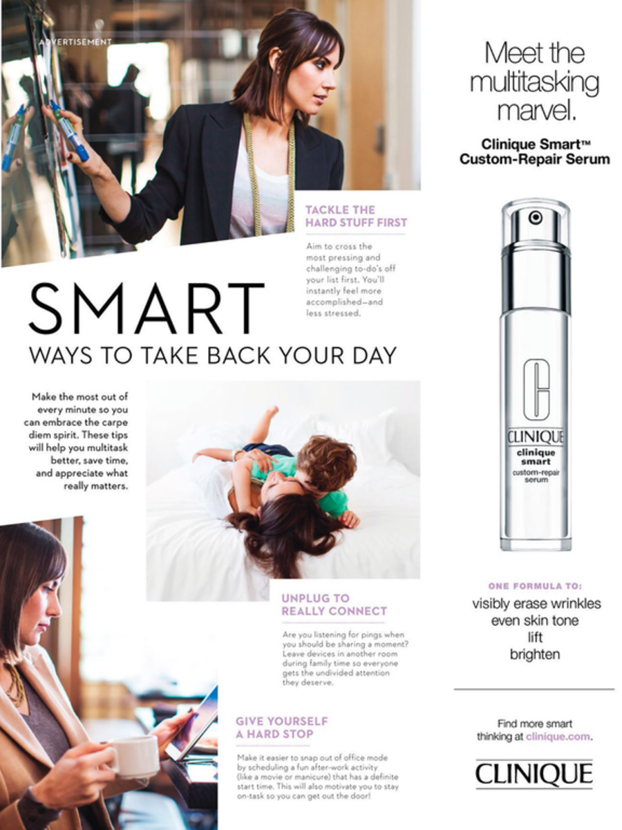 In this copy, Clinqiue does an amazing job in promoting their product by comparing its benefits with a woman's daily routine.