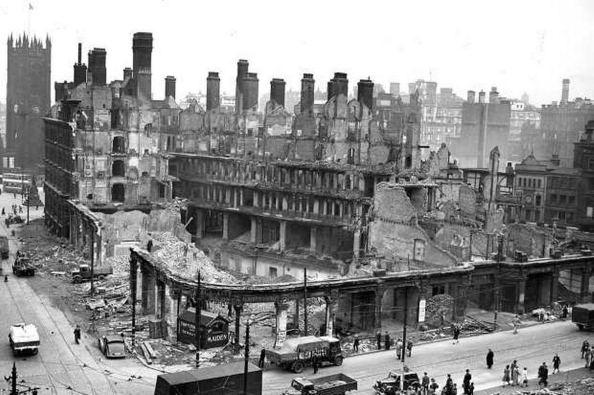 Manchester during the Blitz (1940).