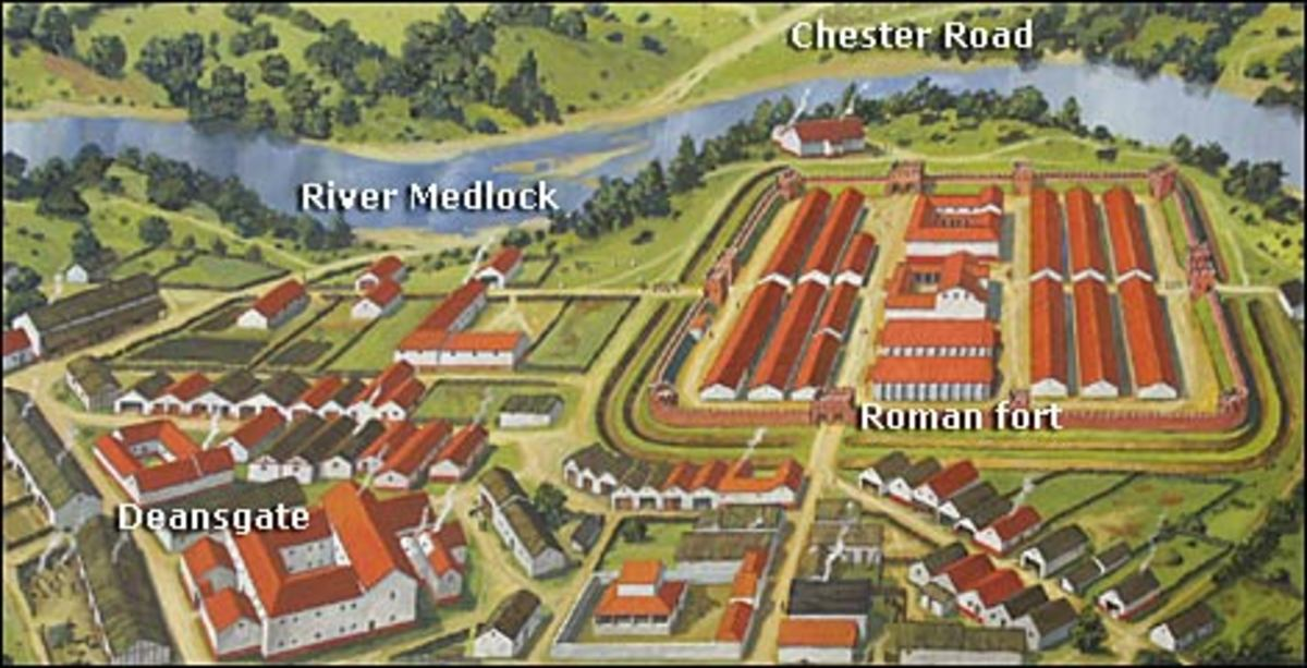 Roman fort that originally was the surrounding of Manchester.