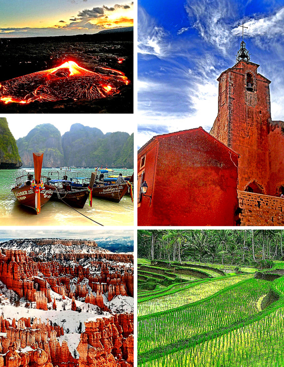 Clockwise from top left: Kilauea lava flow in Kalapana, Hawaii; historic clock tower of Roussillon village, Provence, France; Tegalalang rice terrace in Bali, Indonesia; winter at Bryce Canyon National Park, Utah; Koh Phi Phi Island, Thailand.