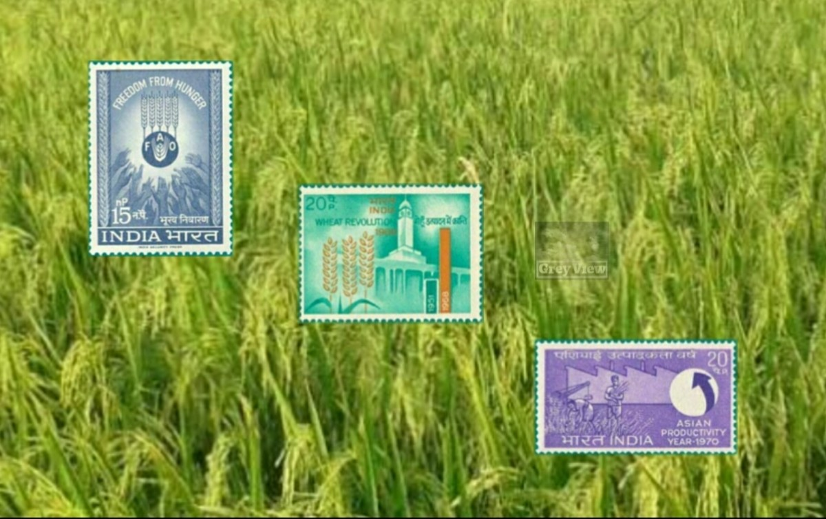 Postage stamps commemorating the milestones of Green Revolution