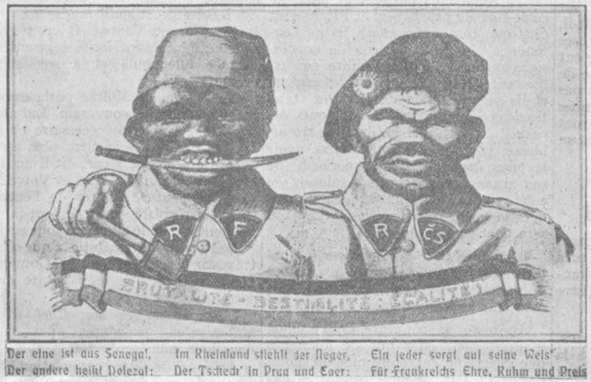 Germany instilled fear and aroused men to fight with propaganda regarding black allied troops..