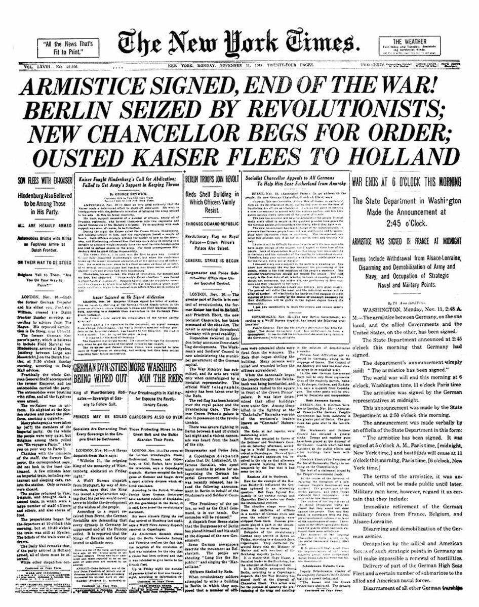 New York TImes 11.11.1918 Armistice Day.