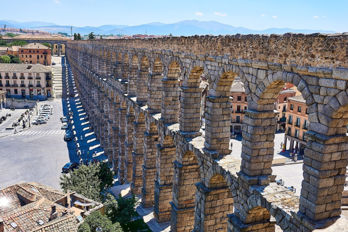 The Aquaduct at Segovia.  Cars can drive through the arches at the ground level.
