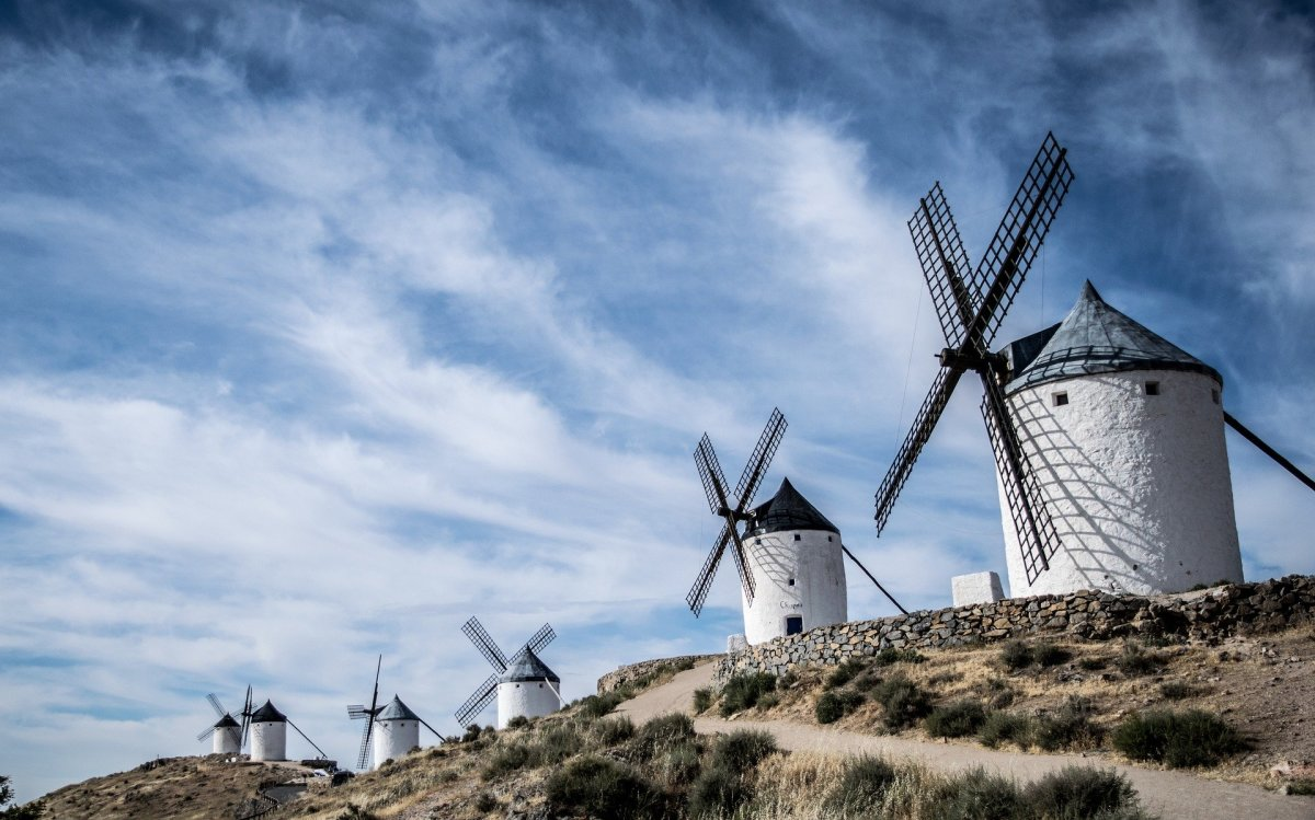 Windmills in the county of La Mancha