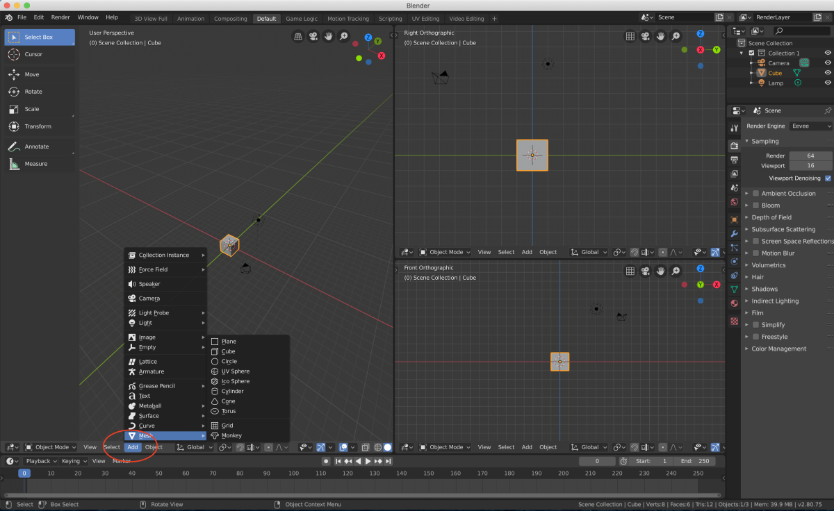 Adding mesh using Blender's toolbars.