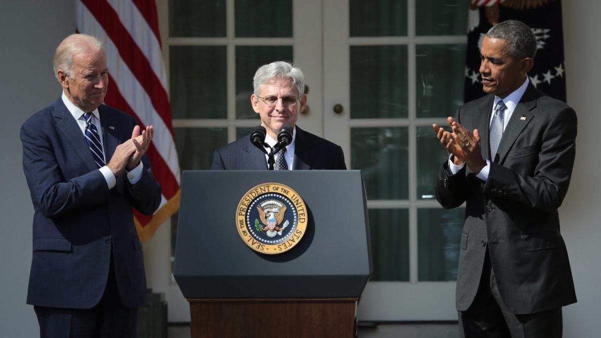 Biden, Garland, Obama (Left to Right)