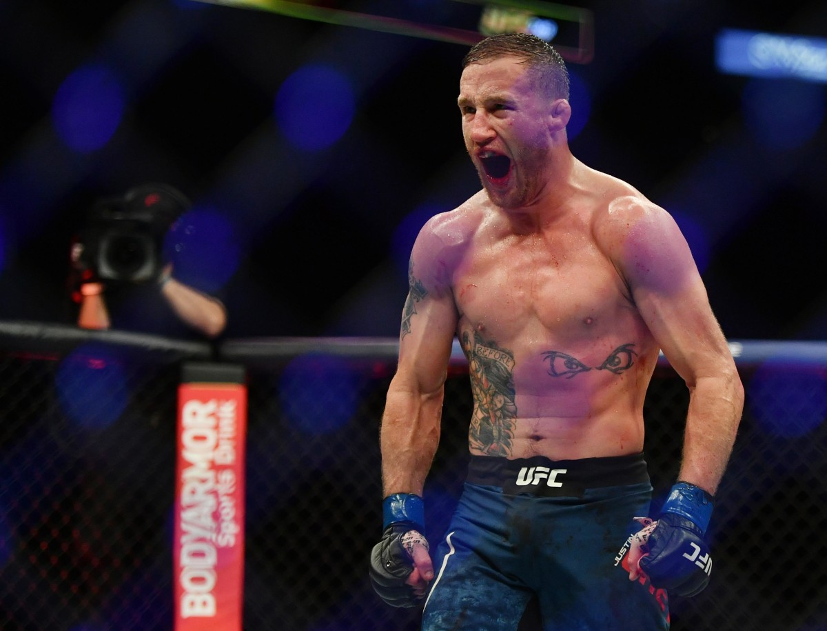 Justin Gaethje after his UFC 249 interim title win over Tony Ferguson.