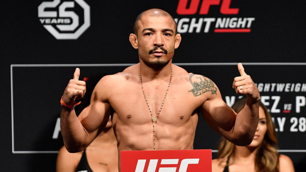 Jose Aldo at the weigh-ins before his bout against Jeremy Stephens at UFC Fight Night Alvarez vs Poirier.