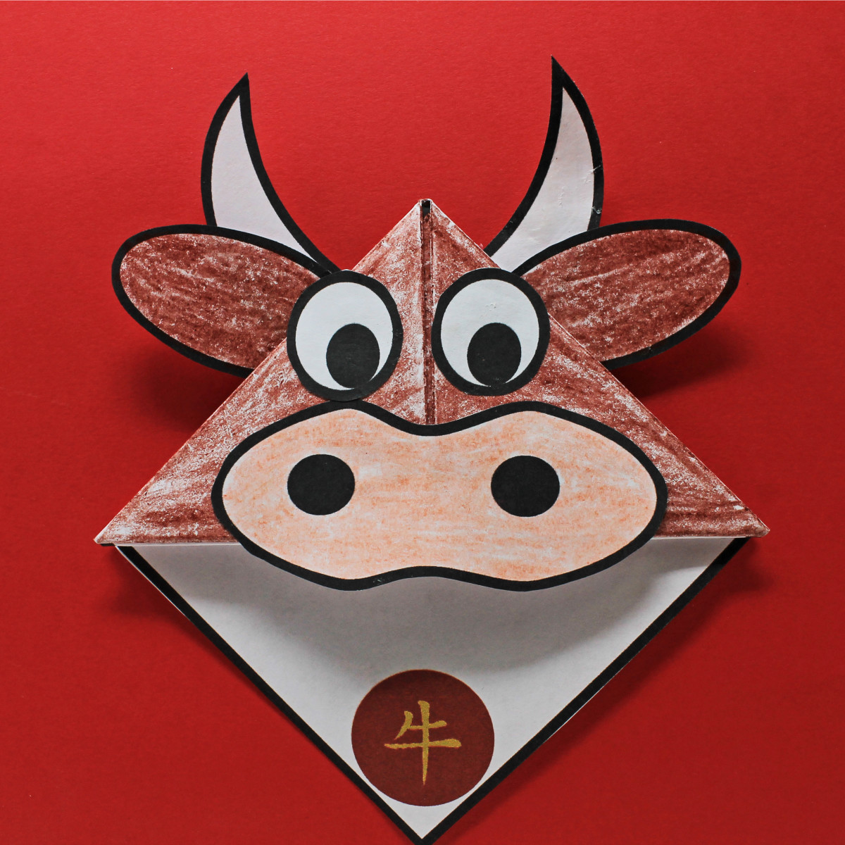 Finished origami Year of the Ox bookmark