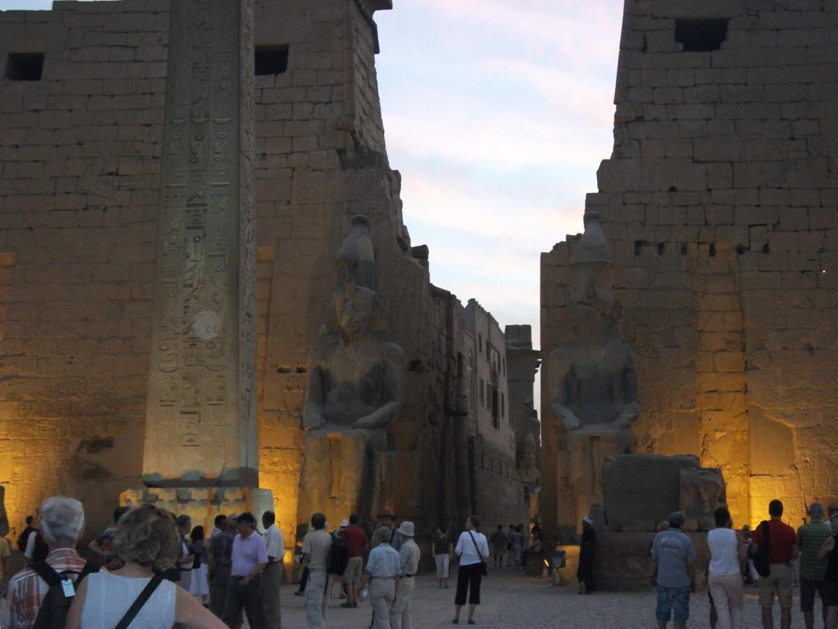 Entrance into the Karnak sacred complex, near sunset.