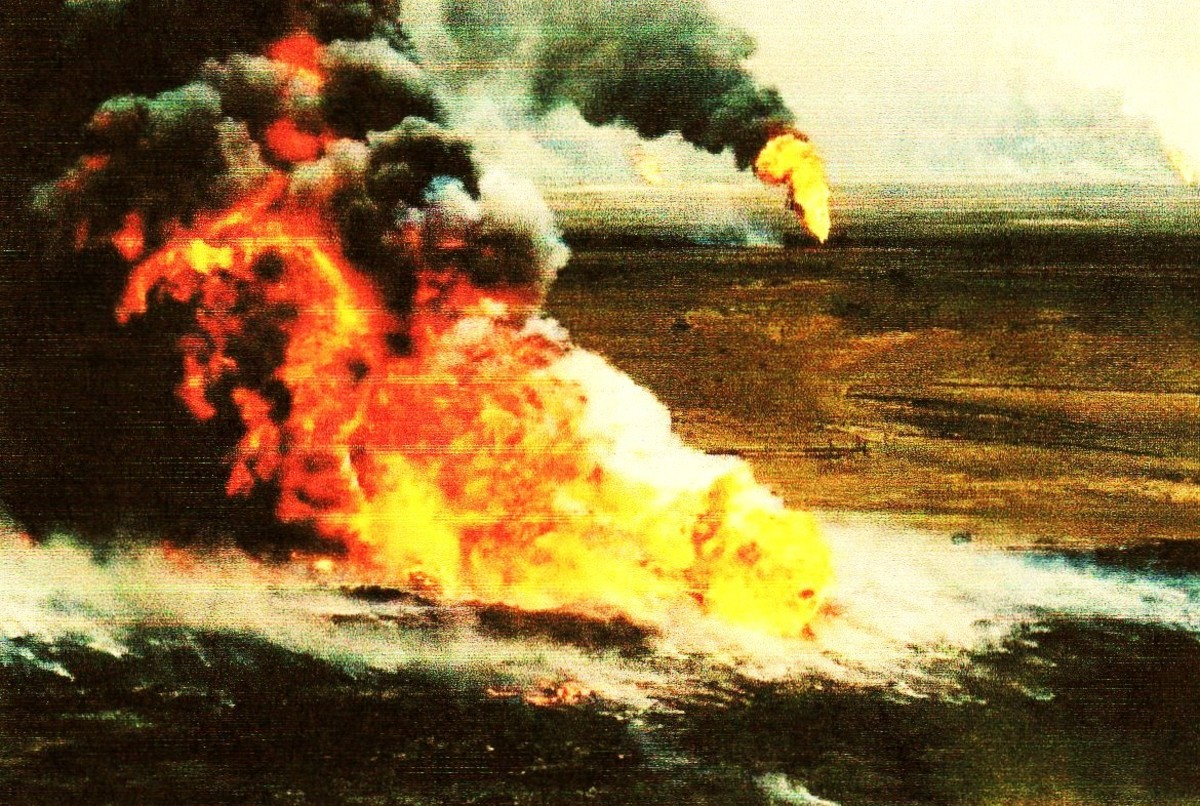 The Persian Gulf War Aug/90-Feb/91 resulted after Iraq invaded Kuwait. Retreating Iraqi forces set fire to oil wells. Cost of this war was $US 60 billion, but $40 billion paid by Saudi Arabia