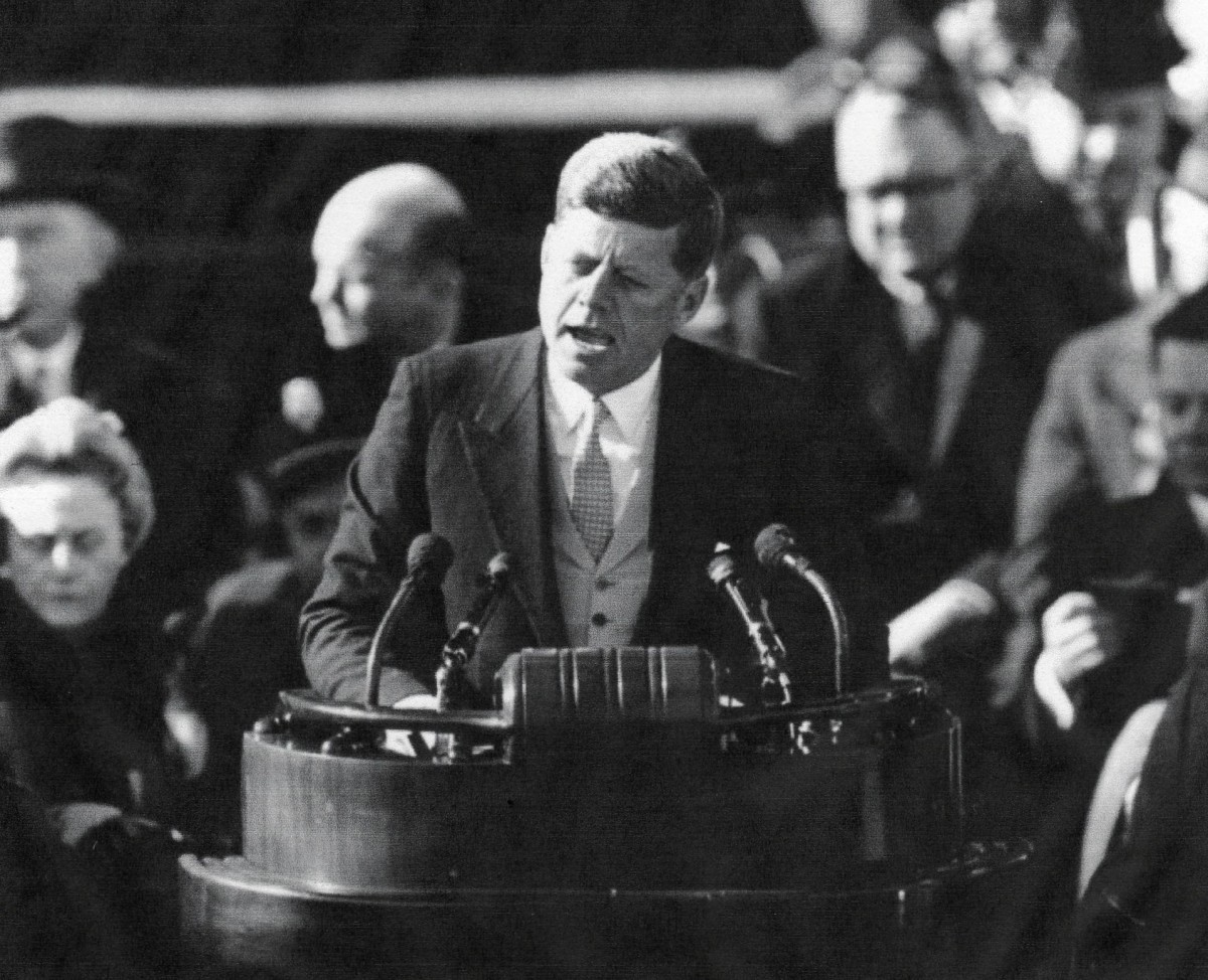 "John F. Kennedy, the thirty-fifth president, a Democrat, 1961-1963. ""Ask not what your country can do for you ...."""