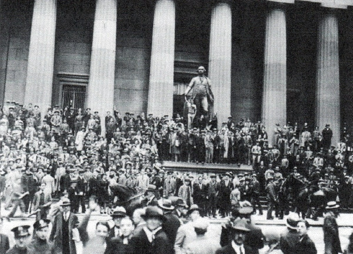 "Dazed investors gather outside the New York Stock Exchange following ""Black Thursday,"" October 24. The stock market crash of 1929 was the worst financial upset in U. S. History."