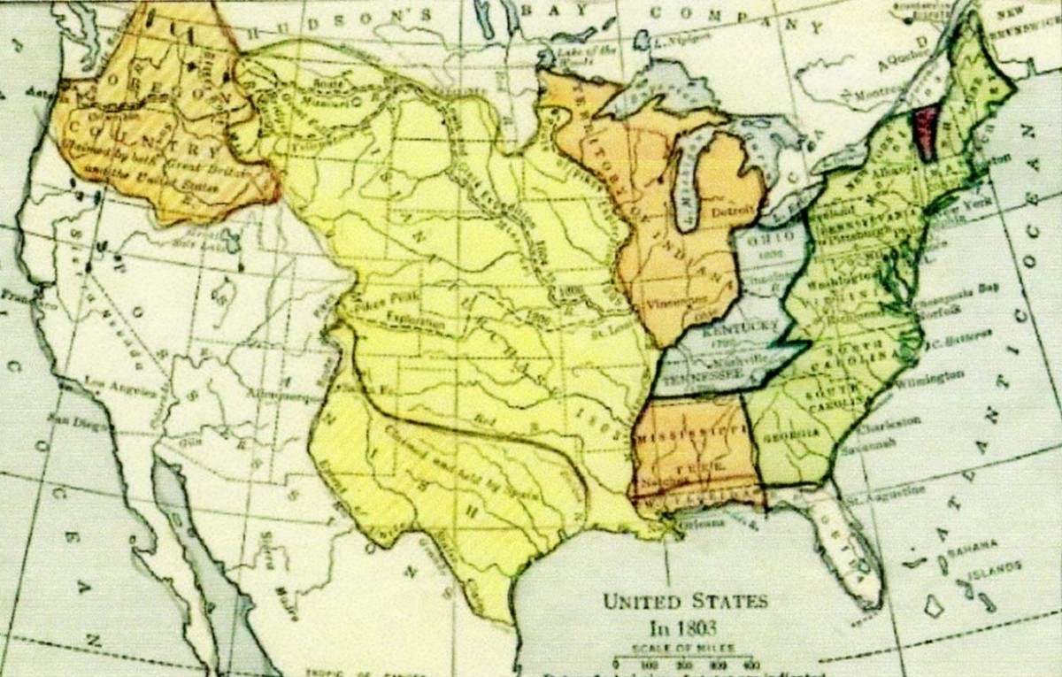Louisiana Purchase effectively added 350 million acres of land to the new United States at a cost of $7,200,000                 ***