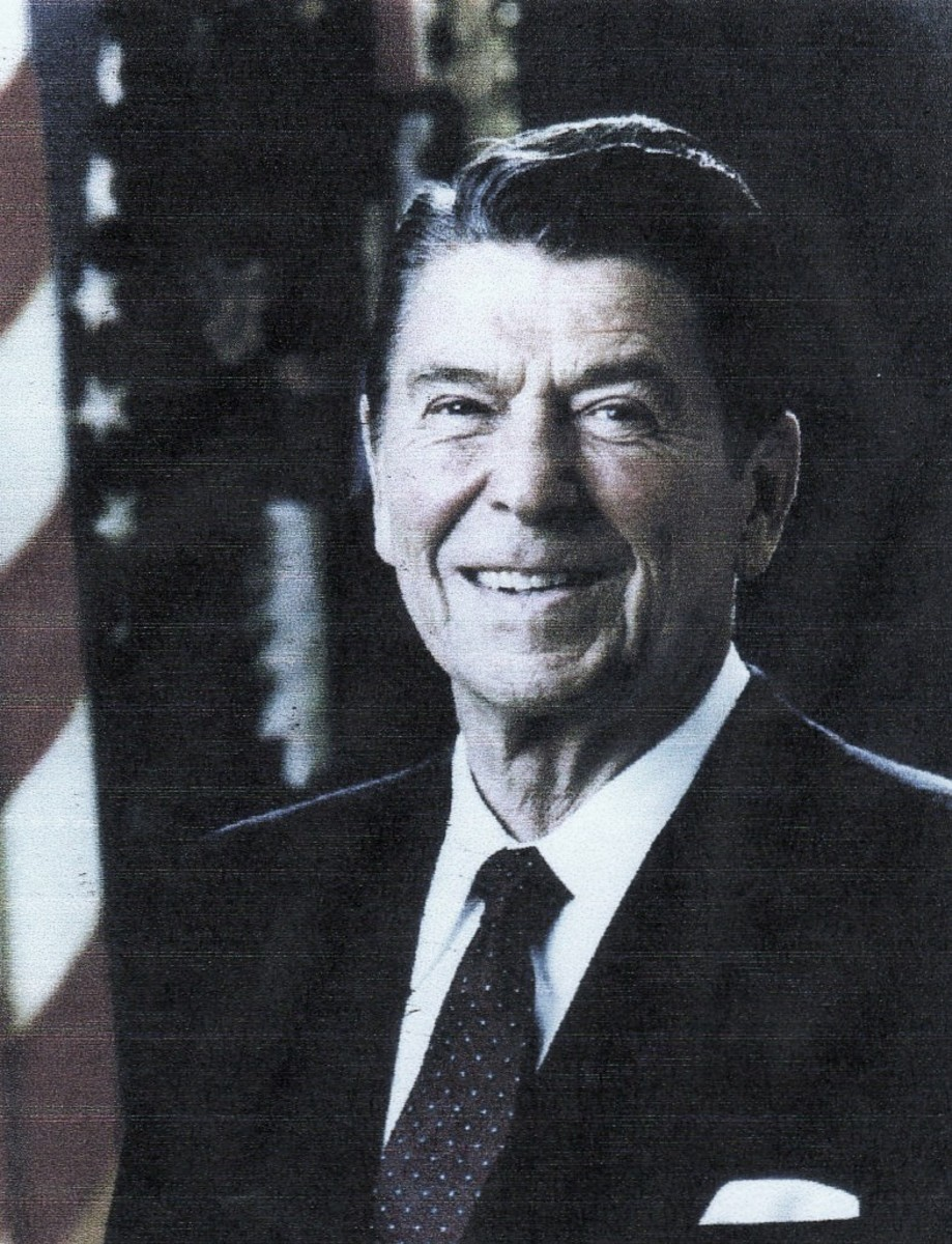 Ronald Reagan, the fortieth president, Republican, 1981-1989, elected on a platform of reduction of government and non-interference in the economy. Result: the debt is increased by $1.8 trillion.