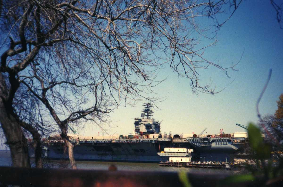 Photo by Jim Bauer copyright 1994, USS Enterprise back in the water at Newport News, VA