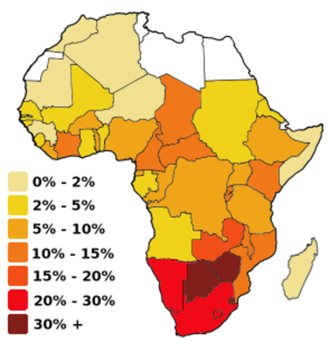 Map of Africa colored according to the percentage of the Adult (Ages 15-49) population with HIV/AIDS