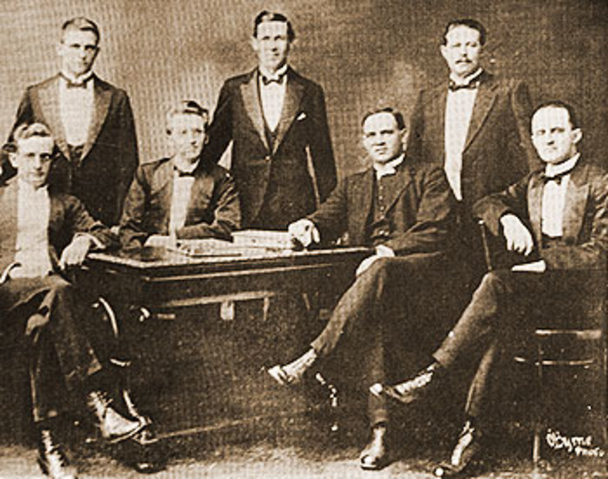 South African Broederbond Members and leadership in 1918. From left to right: D.H.C. du Plessies, J. Combrink. H. Le R. Jooste. Seated: L.J. Erasmus, H.J. Klopper, Ds W. Nicol, J.E. Reeler