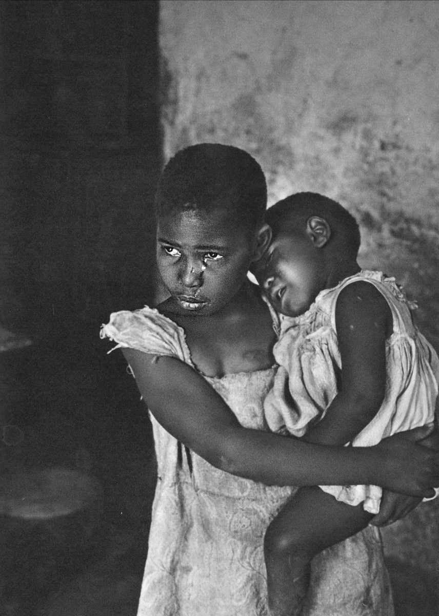 Children, poor, hungry and crying, although this was in the sixties, the situation has not changed for many children today in South Africa. By the year 2014, there will be 5 million children homeless and without parents because of AIDS and so on.