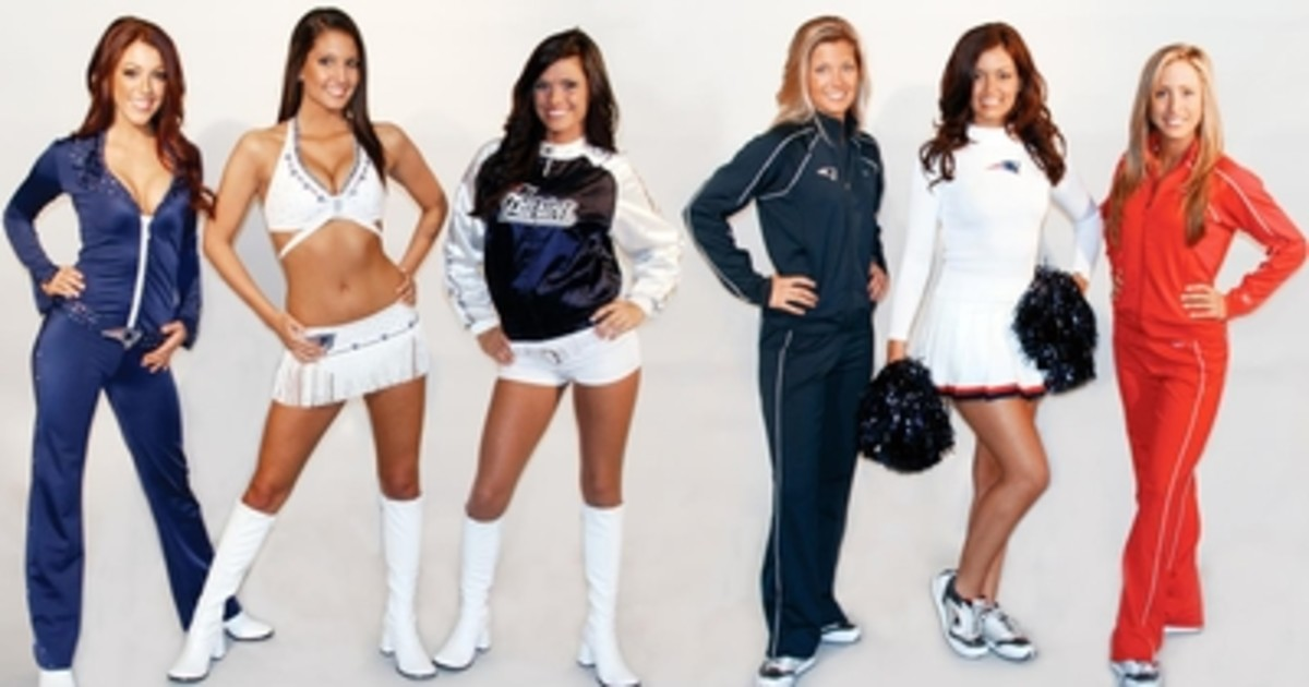 four different cheeleading outfits with white boots and sweatshirts