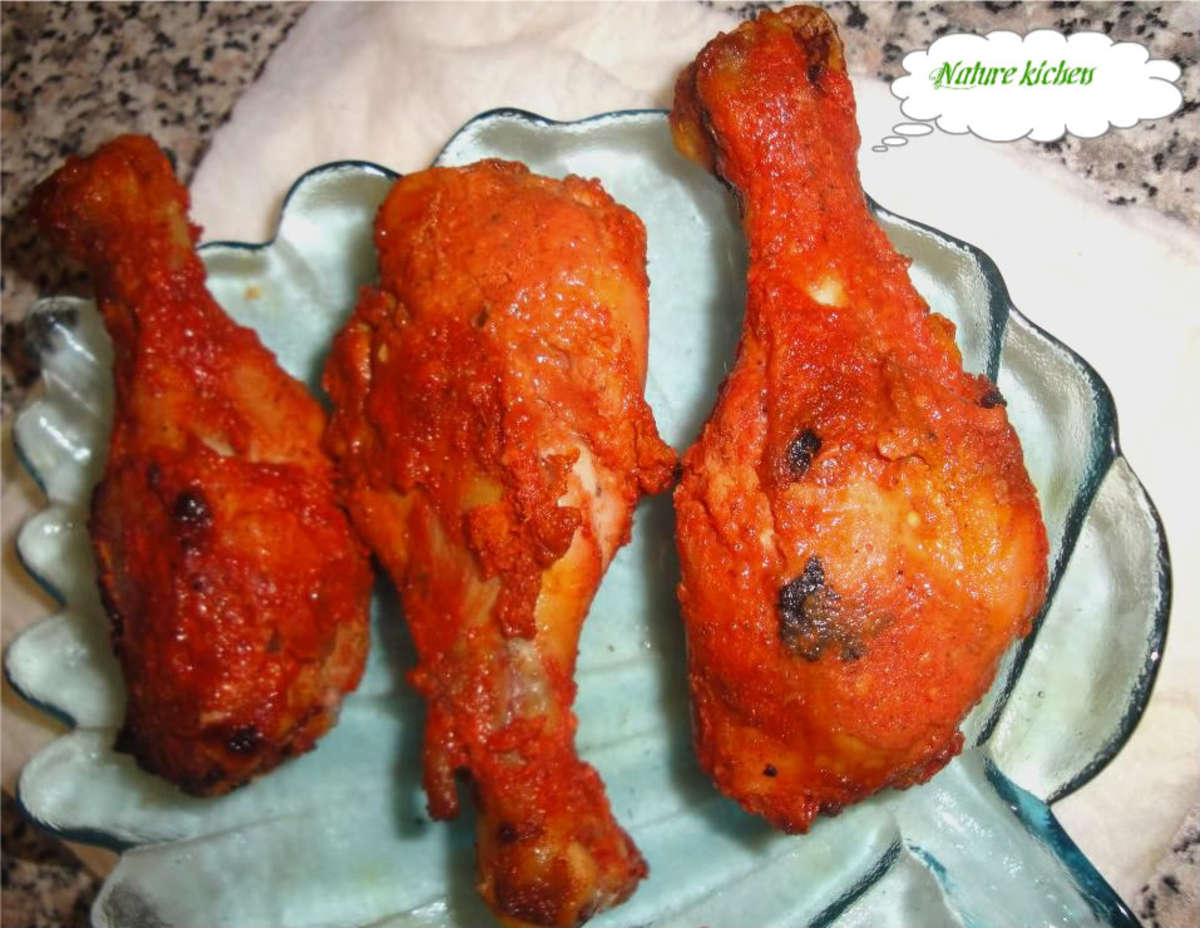 How to cook tandori chicken legs in an oven?
