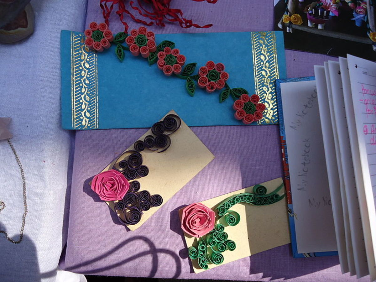 Quilling on cards.  Photo by Rohini