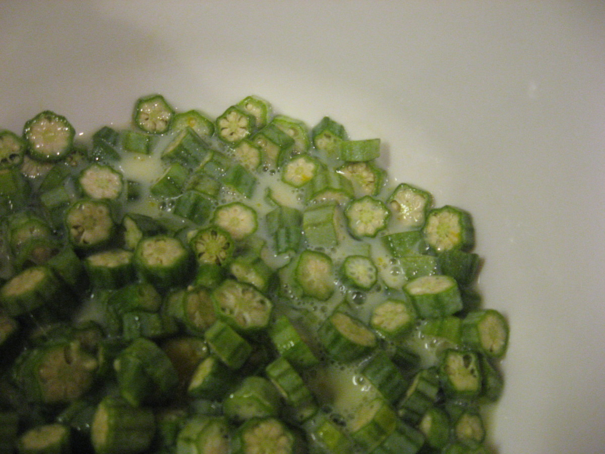 Cover sliced okra with milk mixture.