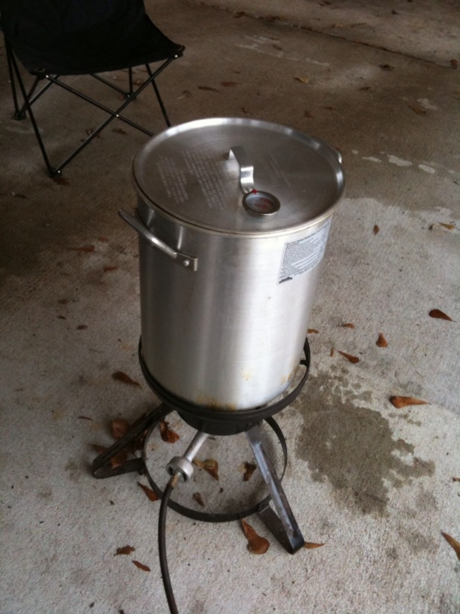 Turkey frying. 3 minutes per pound, and add another 10-15 minutes at the end.