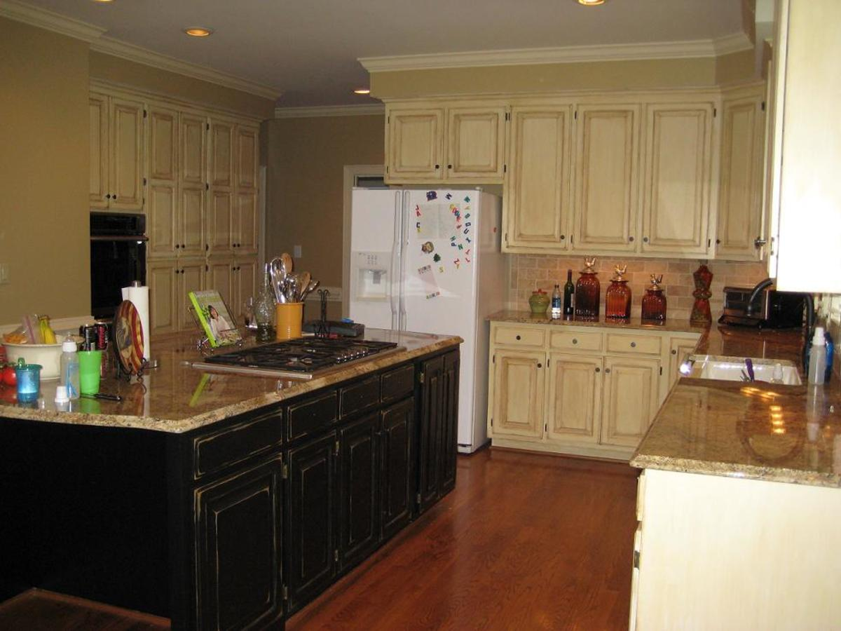 Cabinet refinishing - Cream distressed kitchen cabinets ...