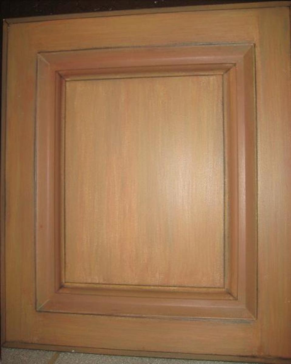 Multi-toned glazed sample cabinet door