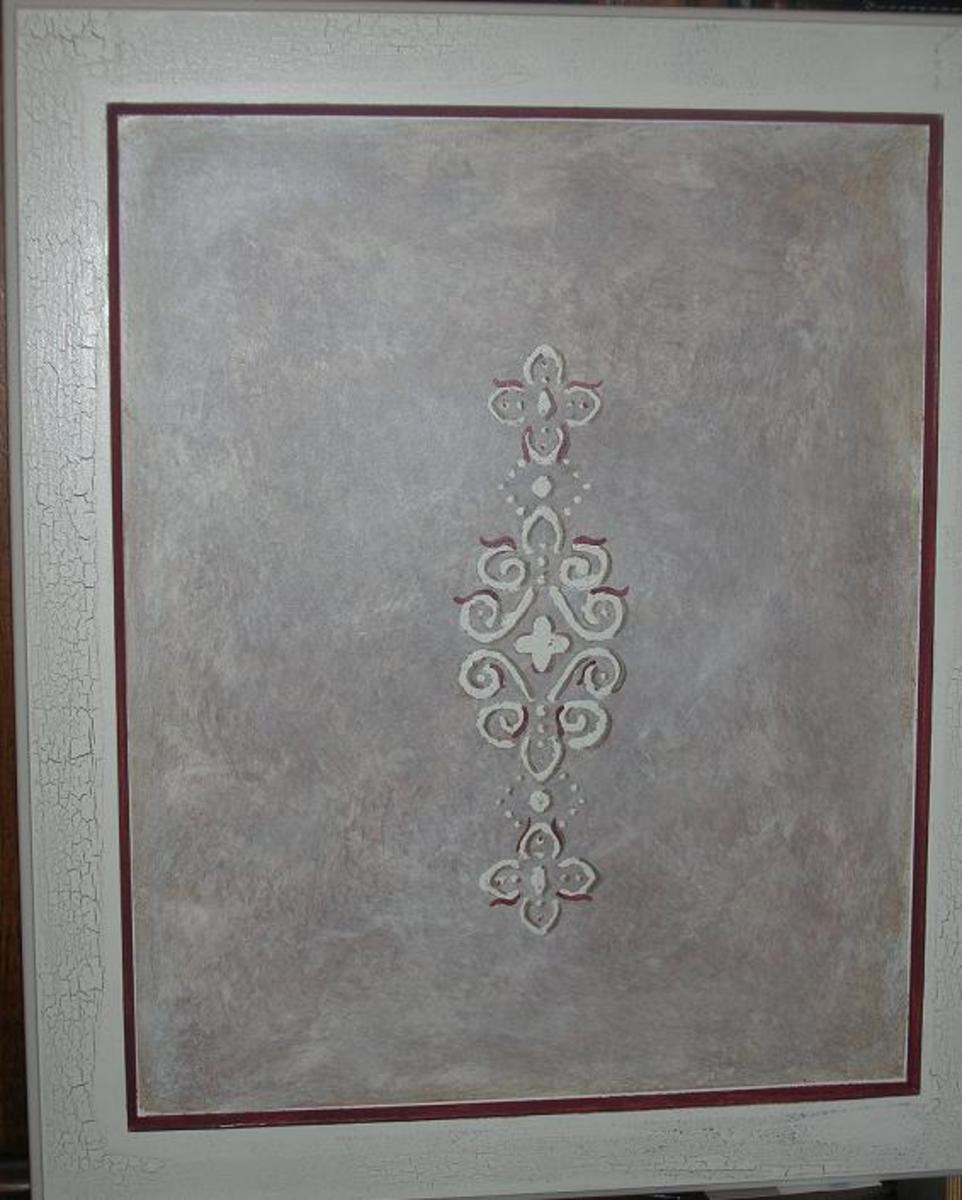 Faux painted and stenciled cabinet door sample