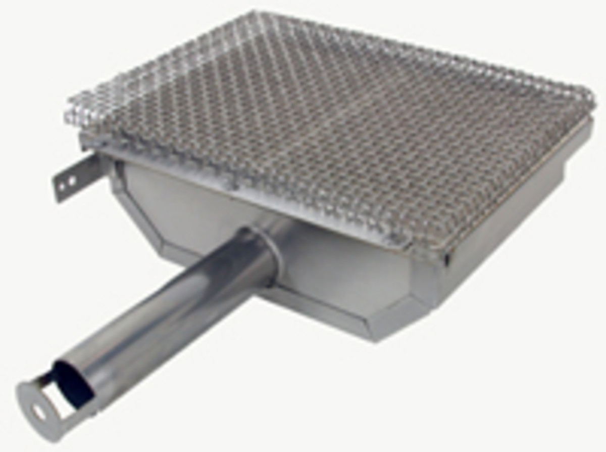This image shows the infrared burner design.  The stainless venturi continues as a pipe burner into the casing.  Ceramic tiles filled with thousands of tiny flames heat all together.