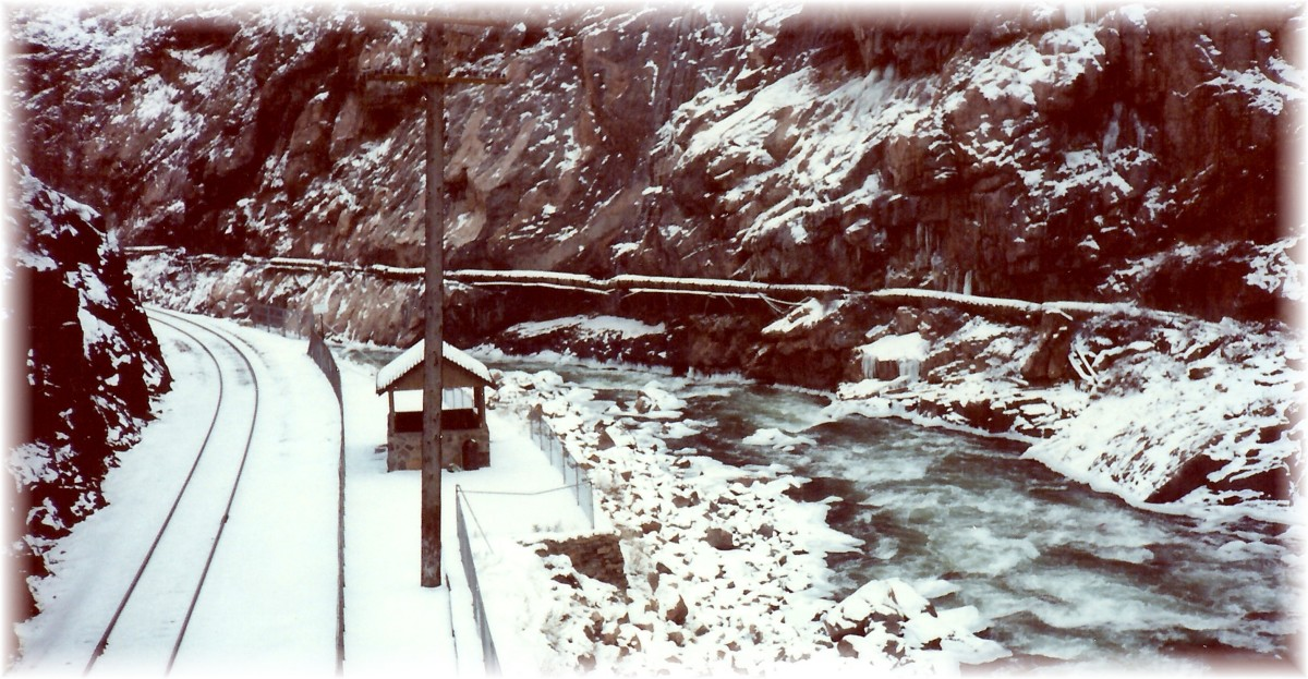 The icy Arkansas River at the Royal Gorge in the Winter