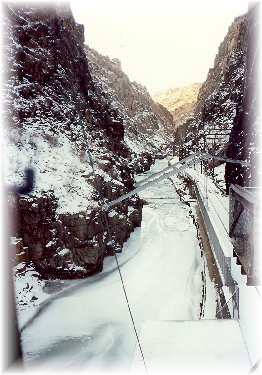 At the bottom of the Royal Gorge in Winter.  Brrr!